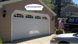 New White Garage Door In suburbs