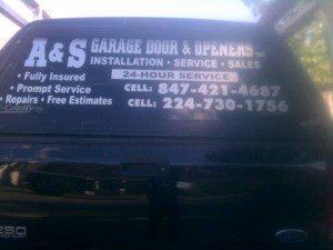 A&S Garage Doors Service Truck Rear Window
