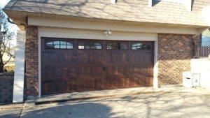 New Garage Door with Brown Wood Look